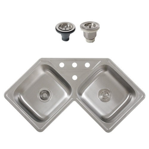 Ticor S999 Corner Overmount 18-Gauge Stainless Steel Kitchen Sink With Free Basket Strainer & Deluxe Strainer