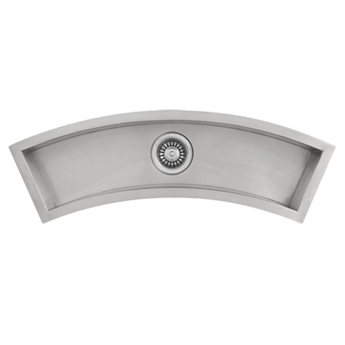 Ticor Undermount Curved Trough Stainless Steel Kitchen Prep Sink TR3200 With Free Deluxe Strainer
