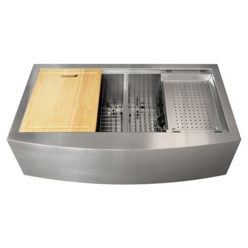 Ticor TR9030 16-Gauge Stainless Steel Apron Kitchen Sink + Accessories