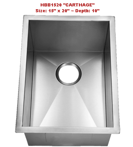 Homeplace Carthage HBB1520 Single Bowl Stainless Steel Sink