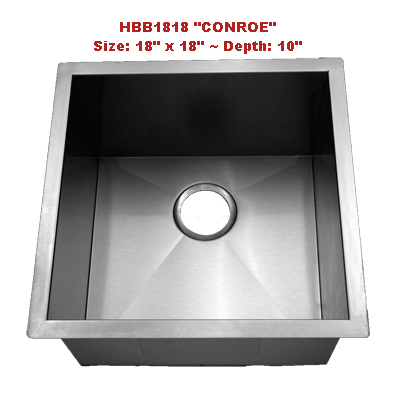 Homeplace Conroe HBB1818 Single Bowl Stainless Steel Sink
