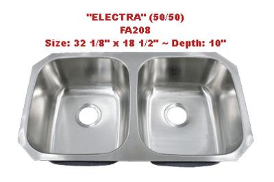 Futura Electra 50/50 FA208 Double Bowl Stainless Steel Kitchen Sink
