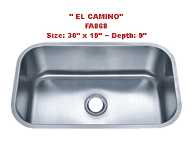 Futura El Camino FA868 Single Bowl Stainless Steel Kitchen Sink