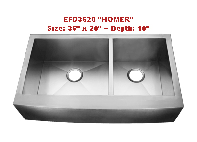 Homeplace Homer EFD3620 Double Bowl Stainless Steel Sink