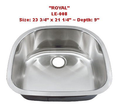 Leonet Royal LE-008 Single Bowl Stainless Steel Kitchen Sink