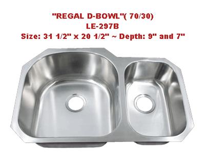 Leonet Regal D Bowl 70/30 LE-297B Double Bowl Stainless Steel Kitchen Sink