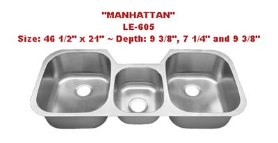 Leonet Manhattan LE-605 Triple Bowl Stainless Steel Kitchen Sink