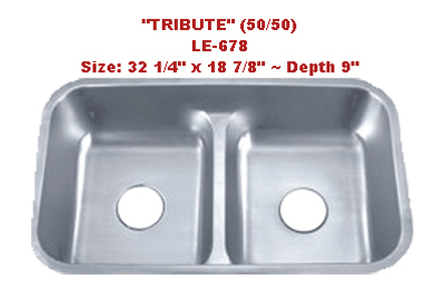 Leonet Tribute 50/50 LE-678 Double Bowl Stainless Steel Kitchen Sink