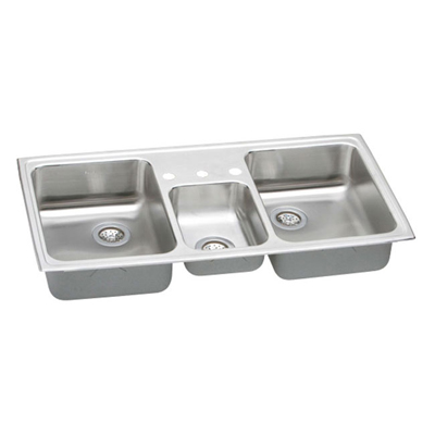 33x22 Stainless Steel Sink : Elkay Pacemaker 33x22 Triple Bowl Sink PSMR43223