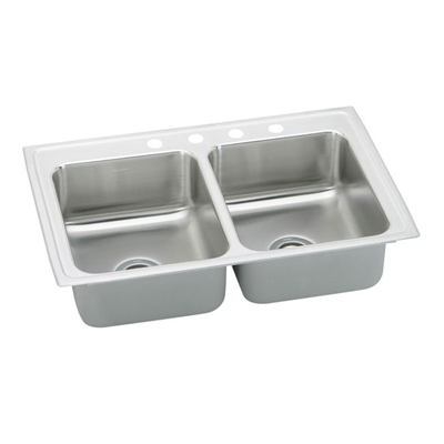 33x22 Stainless Steel Sink : Elkay Pacemaker 33x22 4 Hole Double Bowl Sink PSR33224