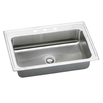 33x22 Stainless Steel Sink : Elkay Pacemaker 33x22 3 Hole Single Bowl Sink PSRS33223