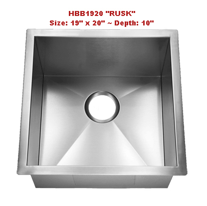 Homeplace Rusk HBB1920 Single Bowl Stainless Steel Sink