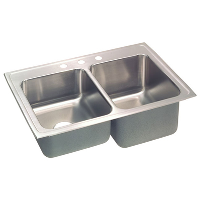 33x22 Stainless Steel Sink : Elkay Lustertone 33x22 3 Hole Double Sink STLR3322R3