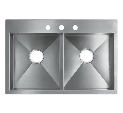 "33"" Top-Mount / Drop-In Stainless Steel Kitchen Sink HTE3322"