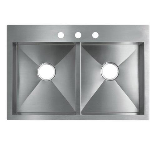 "33"" Top-Mount / Drop-In Stainless Steel Kitchen Sink HTE3322"