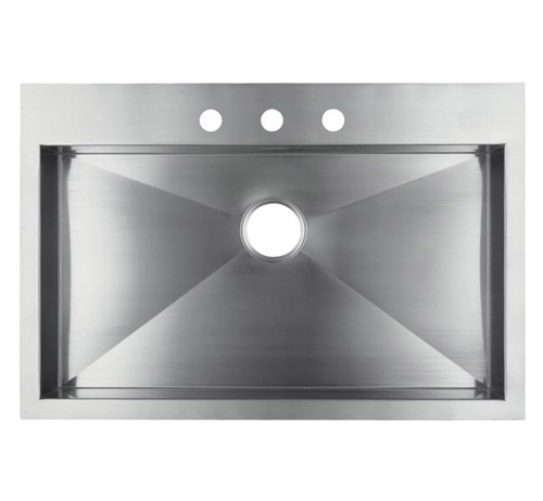 """36"""" Stainless Steel Top Mount Kitchen Sink - Single Bowl HTS3622"""