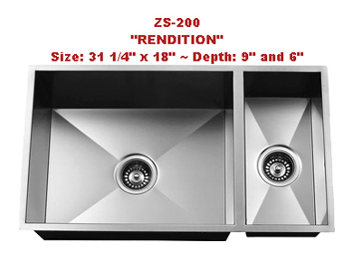 Urban Place Rendition ZS-200 Double Bowl Stainless Steel Kitchen Sink