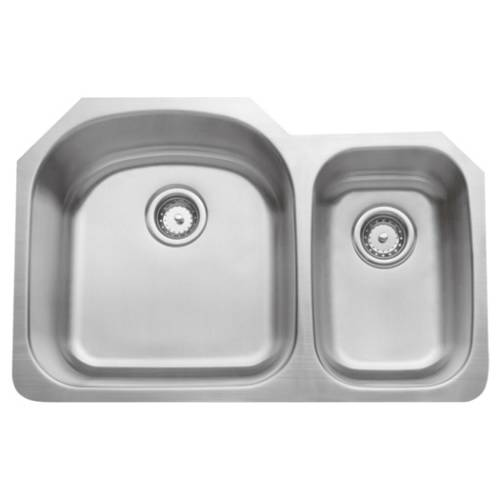 Wells Sinkware 16 Gauge 70/30 Double Bowl Undermount Stainless Steel Kitchen Sink Package CMU3221-97D-16-1