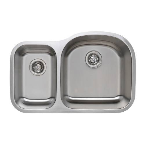 Wells Sinkware 16 Gauge 30/70 Double Bowl Undermount Stainless Steel Kitchen Sink Package CMU3221-79D-16-1