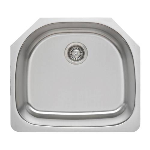Wells Sinkware 16 Gauge D-shape Single Bowl Undermount Stainless Steel Kitchen Sink Package CMU2421-9D-16-1