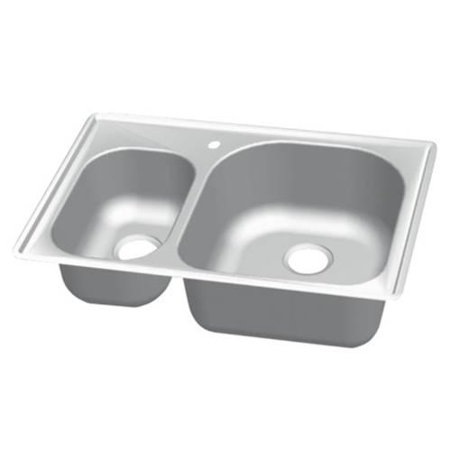 Wells Sinkware 18 Gauge 30/70 Double Bowl Topmount Stainless Steel Kitchen Sink Package CMT3322-79D-1