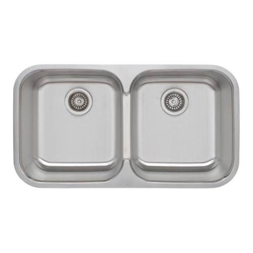 Wells Sinkware 18 Gauge 50/50 Double Bowl Undermount Stainless Steel Kitchen Sink Package TRU3319-99C-1