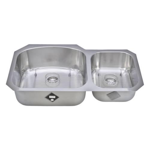 Wells Sinkware 17 Gauge Deck/ 18 Gauge Double Bowl Undermount Stainless Steel Kitchen Sink Package CHU3721-97-1