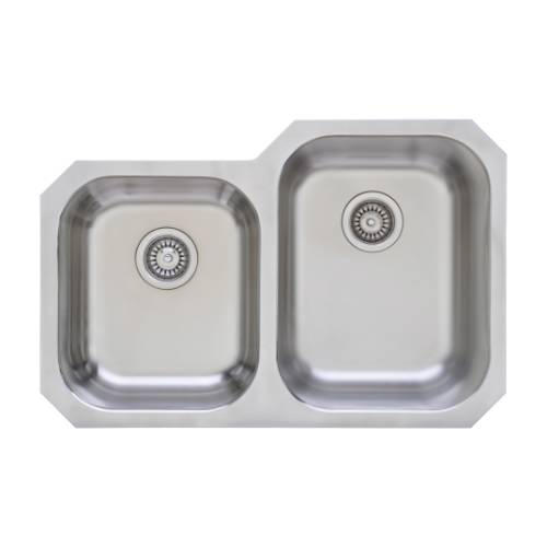 Wells Sinkware 17 Gauge Deck/ 18 Gauge Double Bowl Undermount Stainless Steel Kitchen Sink Package GLU3221-79-1