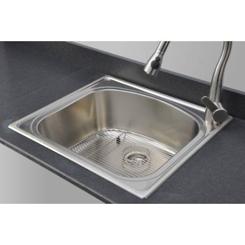 Wells Sinkware 18 Gauge Single Bowl Topmount Stainless Steel Kitchen Sink Package CHT2522-10R-1