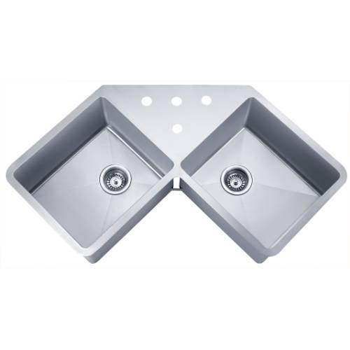 "Wells Sinkware 16 Gauge Handcrafted ""Butterfly"" Undermount Double Bowl Stainless Steel Kitchen Sink SSU4424-10"