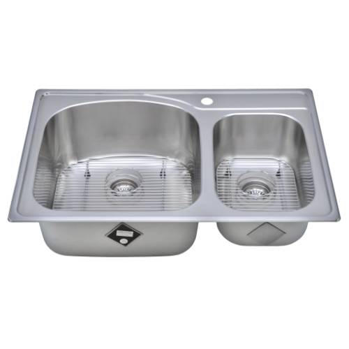 Wells Sinkware 18 Gauge Double Bowl Topmount Stainless Steel Kitchen Sink Package CHT3322-97-1