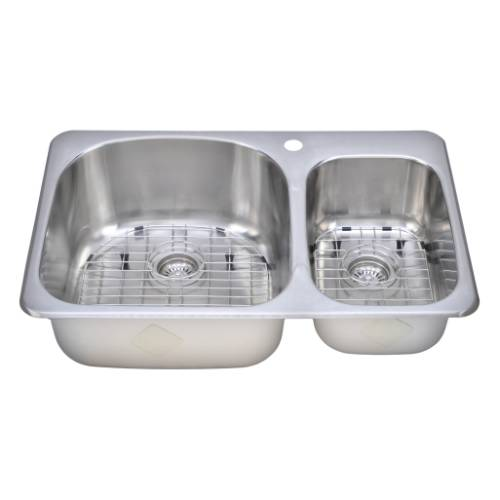 Wells Sinkware 18 Gauge Double Bowl Topmount Stainless Steel Kitchen Sink Package TOT3221-97-1
