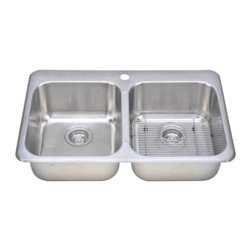 Wells Sinkware 18 Gauge Double Bowl Topmount Stainless Steel Kitchen Sink Package TOT3221-88-1