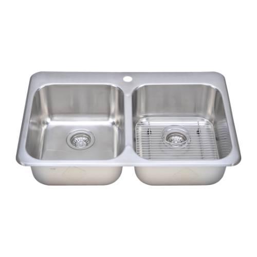 Wells Sinkware 18 Gauge Double Bowl Topmount Stainless Steel Kitchen Sink Package TOT3221-88-1