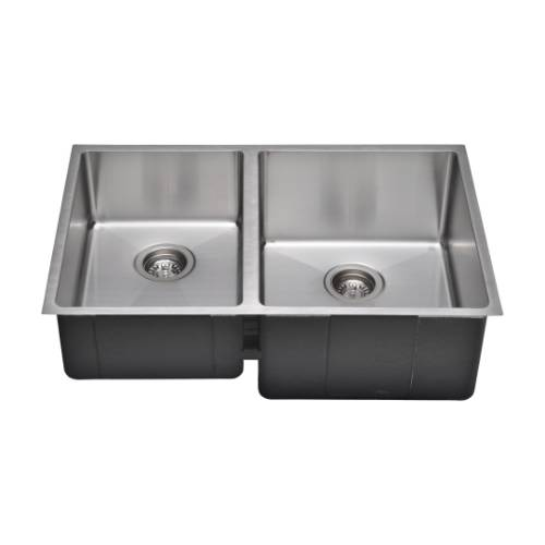 Wells Sinkware Commercial Grade 16 Gauge Handcrafted Double-Bowl Undermount Stainless Steel Kitchen Sink Package CSU3020-79-1