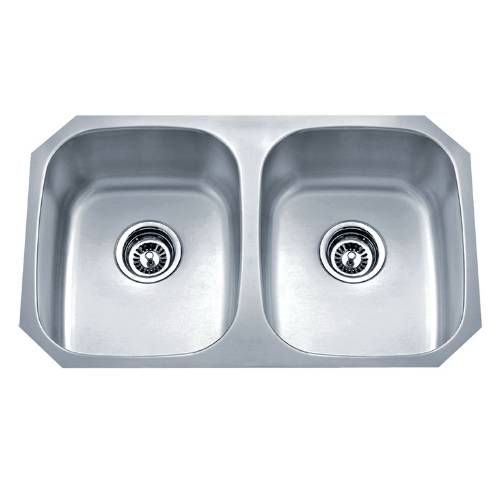 Wells Sinkware 18 Gauge Undermount Double Bowl Stainless Steel Kitchen Sink Package SSU3018-88-1