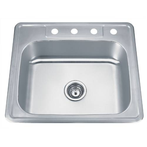 Wells Sinkware 20 Gauge ADA Topmount Single Bowl Stainless Steel Kitchen Sink Package SST2522-5-ADA-1