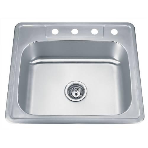 Wells Sinkware 20 Gauge ADA Topmount Single Bowl Stainless Steel Kitchen Sink Package SST2522-5-ADA-1