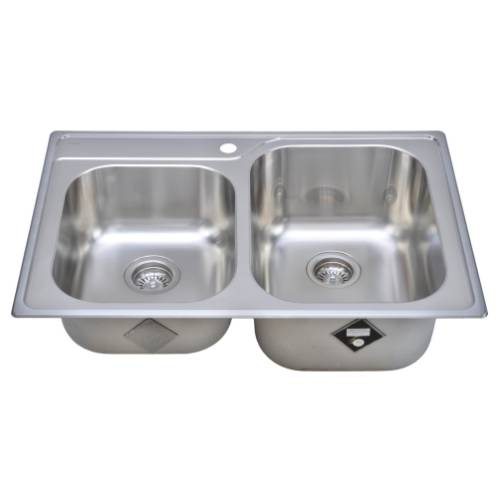Wells Sinkware 18 Gauge Double Bowl Topmount Stainless Steel Kitchen Sink GLT3322-79