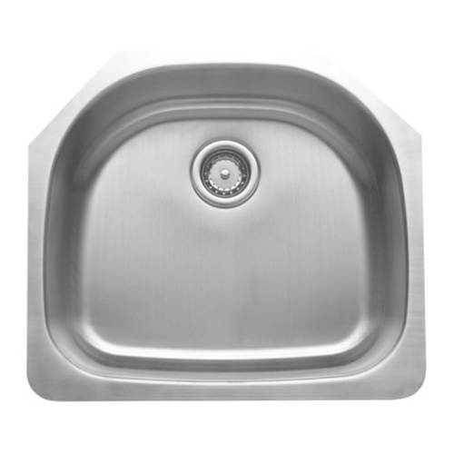 Wells Sinkware 16 Gauge D-shape Single Bowl Undermount Stainless Steel Kitchen Sink CMU2421-9D-16