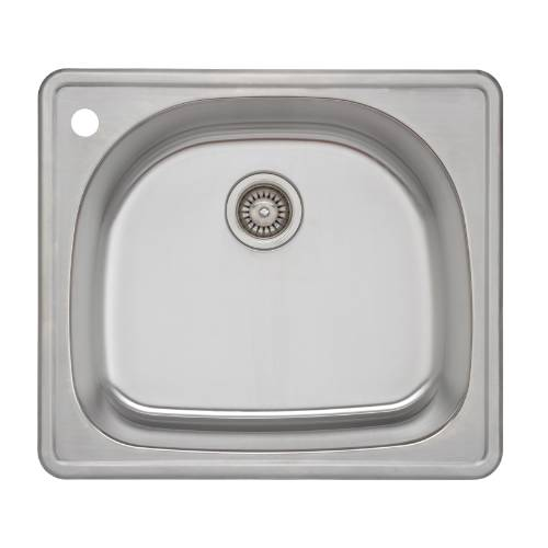 Wells Sinkware 18 Gauge D-shape Single Bowl Topmount Stainless Steel Kitchen Sink CMT2522-9DL