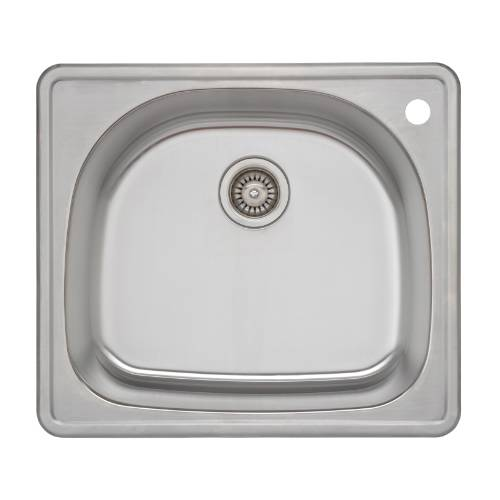 Wells Sinkware 18 Gauge D-shape Single Bowl Topmount Stainless Steel Kitchen Sink CMT2522-9DR