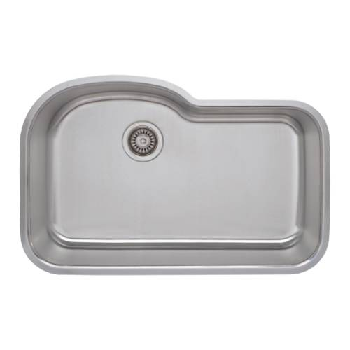 Wells Sinkware 18 Gauge Offset Single Bowl Undermount Stainless Steel Kitchen Sink DTU3121-9