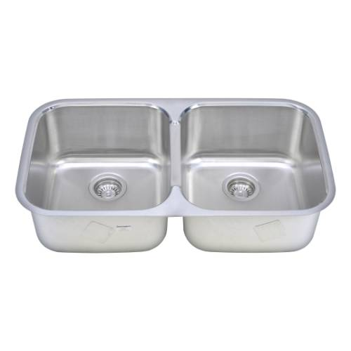 Wells Sinkware 18 Gauge 50/50 Double Bowl Undermount Stainless Steel Kitchen Sink TRU3319-99C