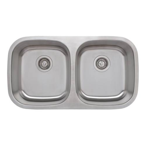 Wells Sinkware 18 Gauge 50/50 Equal Double Bowl Undermount Stainless Steel Kitchen Sink Package CMU3318-88-1