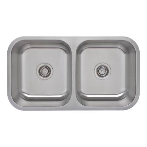 Wells Sinkware 18 Gauge 50/50 Equal Double Bowl Undermount Stainless Steel Kitchen Sink Package CMU3318-99-1