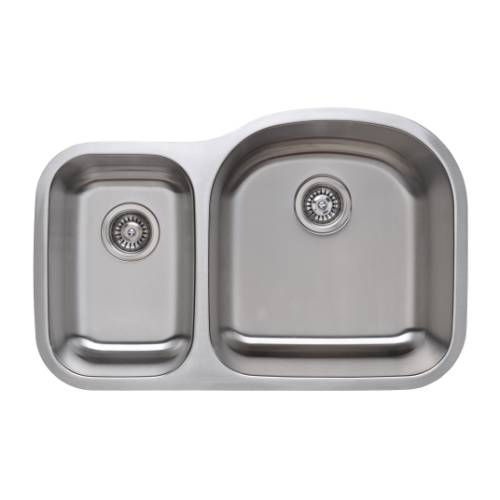 Wells Sinkware 18 Gauge 30/70 Double Bowl Undermount Stainless Steel Kitchen Sink Package CMU3221-79D-1