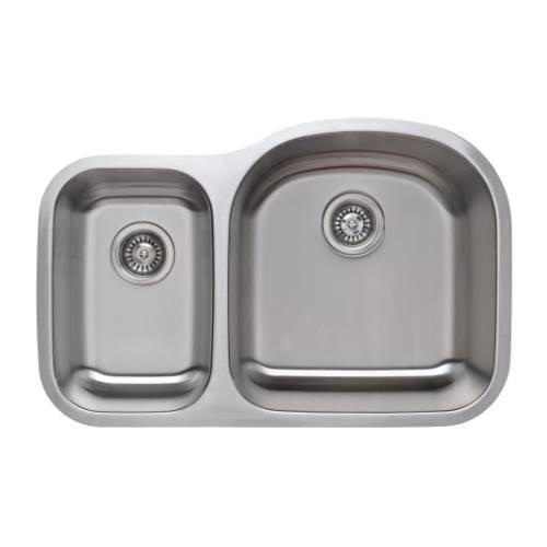 Wells Sinkware 18 Gauge 30/70 Double Bowl Undermount Stainless Steel Kitchen Sink Package CMU3221-79D-1
