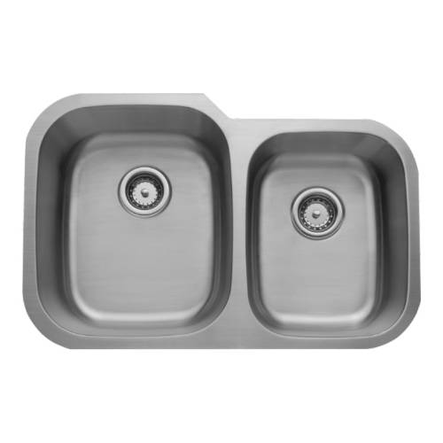 Wells Sinkware 16 Gauge 60/40 Double Bowl Undermount Stainless Steel Kitchen Sink Package CMU3221-97-16-1