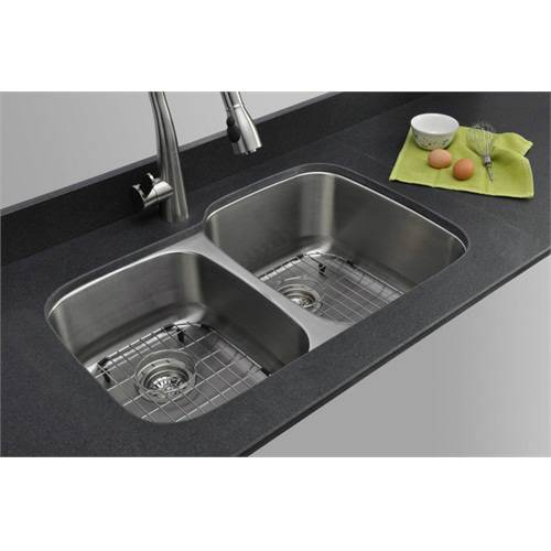 Wells Sinkware 16 Gauge 40/60 Double Bowl Undermount Stainless Steel Kitchen Sink Package CMU3221-79-16-1